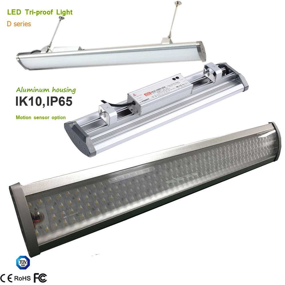 High Ceiling High Bay Linear Tri proof Industrial Light 1 10V Dimmable Controal Lens Beam Angle 30 60 90 70*140