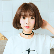 Short Wig Women's Cute Fringe Straight Bob Cosplay Wig Heat Resistant Full Hair