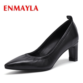 ENMAYLA  Square Toe  Genuine Leather  Casual  Buckle Strap  Ladies Shoes  Women  High Heel Shoes  Size 34-39  ZYL2134