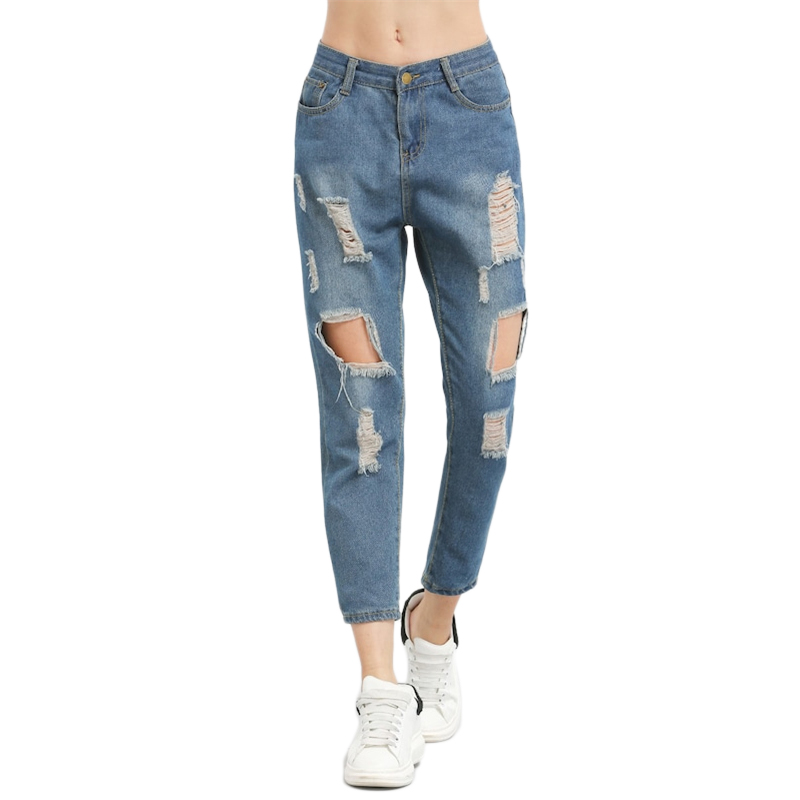 ROMWE Blue Ripped Distressed Boyfriend Ankle Denim Jeans Women Casual Summer Autumn Plain Straight Leg Pants Spring Trousers 11