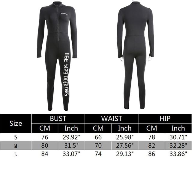 Waatfaak Black Sexy Bodycon Jumpsuit Romper Long Sleeve Bodysuit Women Zipper V Neck Jumpsuit Elegant Full Length Polyester 2018