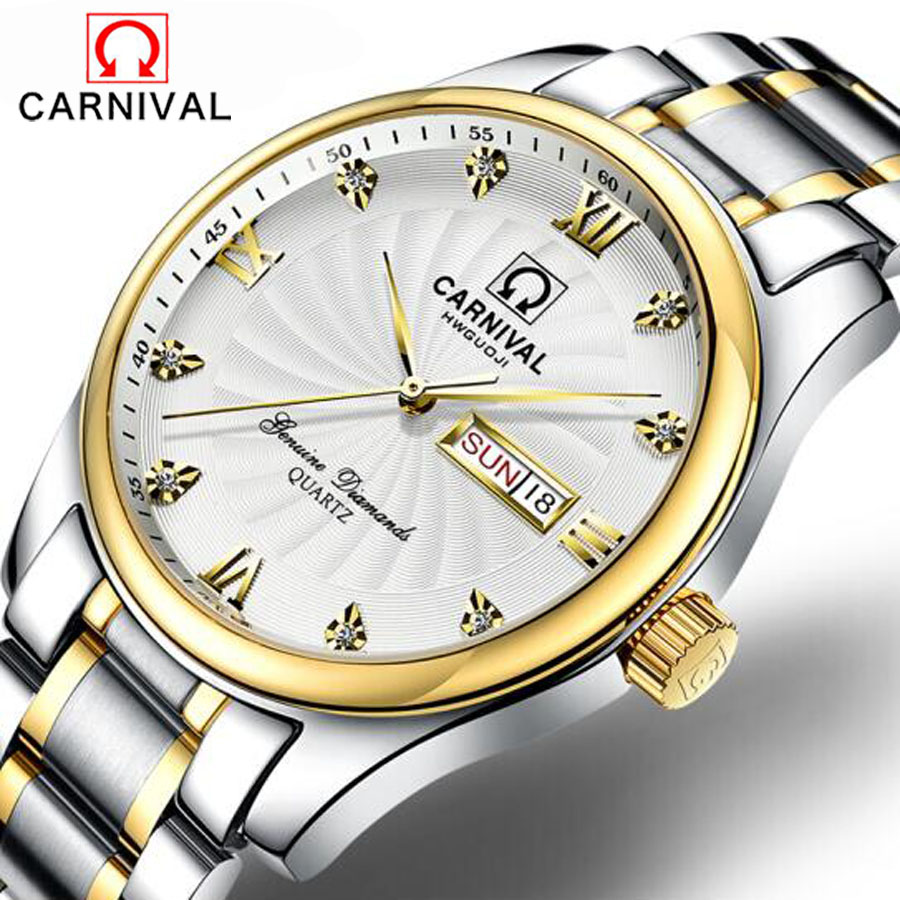 Relogio Masculino Carnival Luxury Mens Watches Top Brand Fashion Business Watch Men Sports Full Steel Waterproof watch Clock все цены