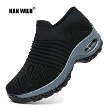 HAN WILD/2019 весенние женские кроссовки на платформе без шнурков сетчатая прогулочная обувь с воздушной подушкой Удобная теннисная уличная спортивная обувь