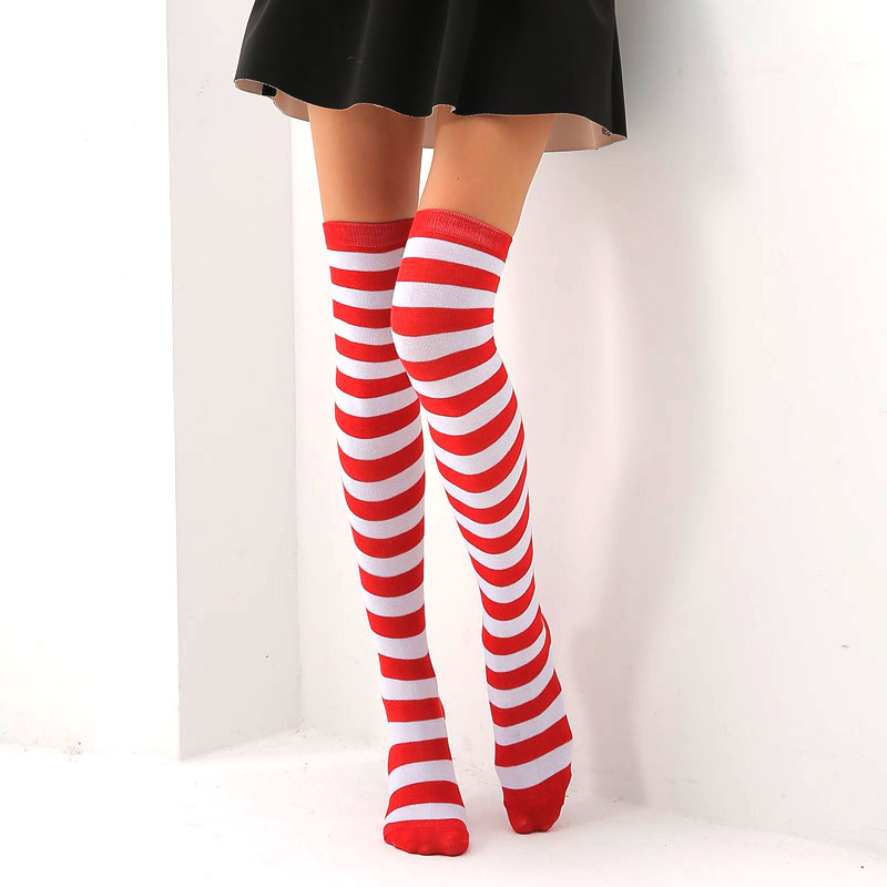 European and American Trend Rainbow Stripes long Paragraph large Size long Tube Was Thin Over The Knee legs ladies Socks