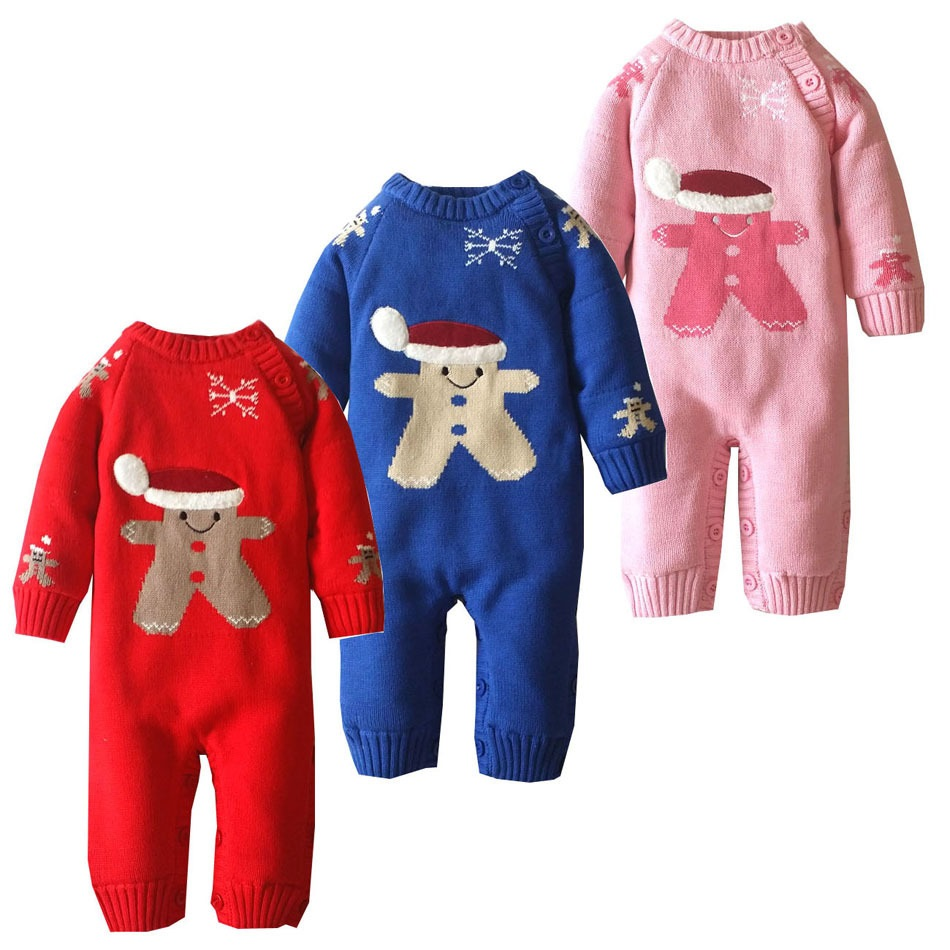 Autumn Winter Baby Rompers Plus Velvet Warm Santa Claus Snowflake Newborn Baby Clothes baby christmas costumes rosenberg 7608