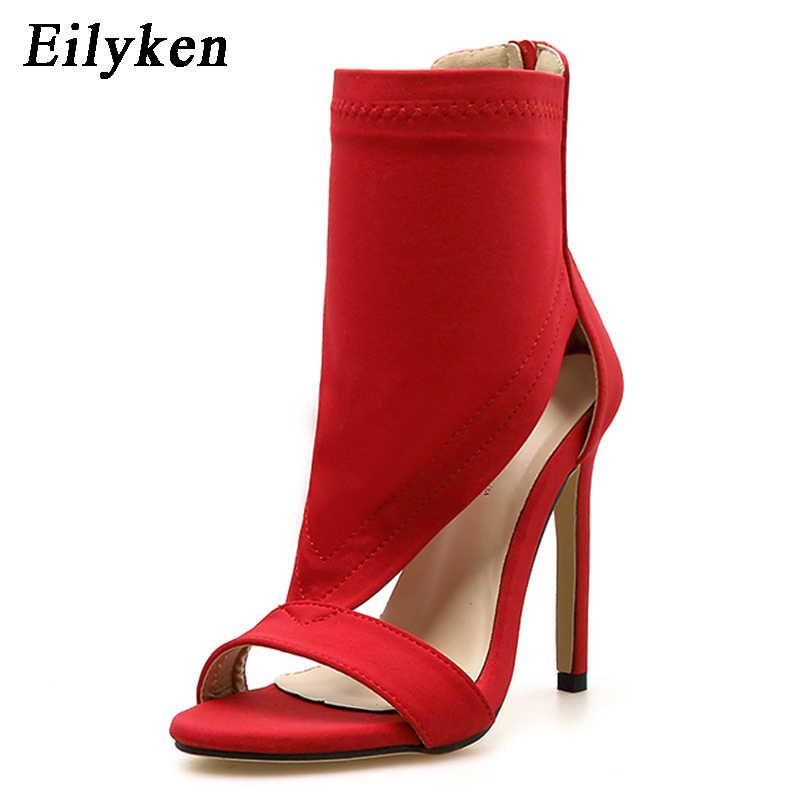 Eilyken 2020 kadın sandalet açık Toe orta buzağı çorap yarım çizmeler streç kumaş yüksek topuk yaz gladyatör sandalet çizmeler kırmızı/ siyah