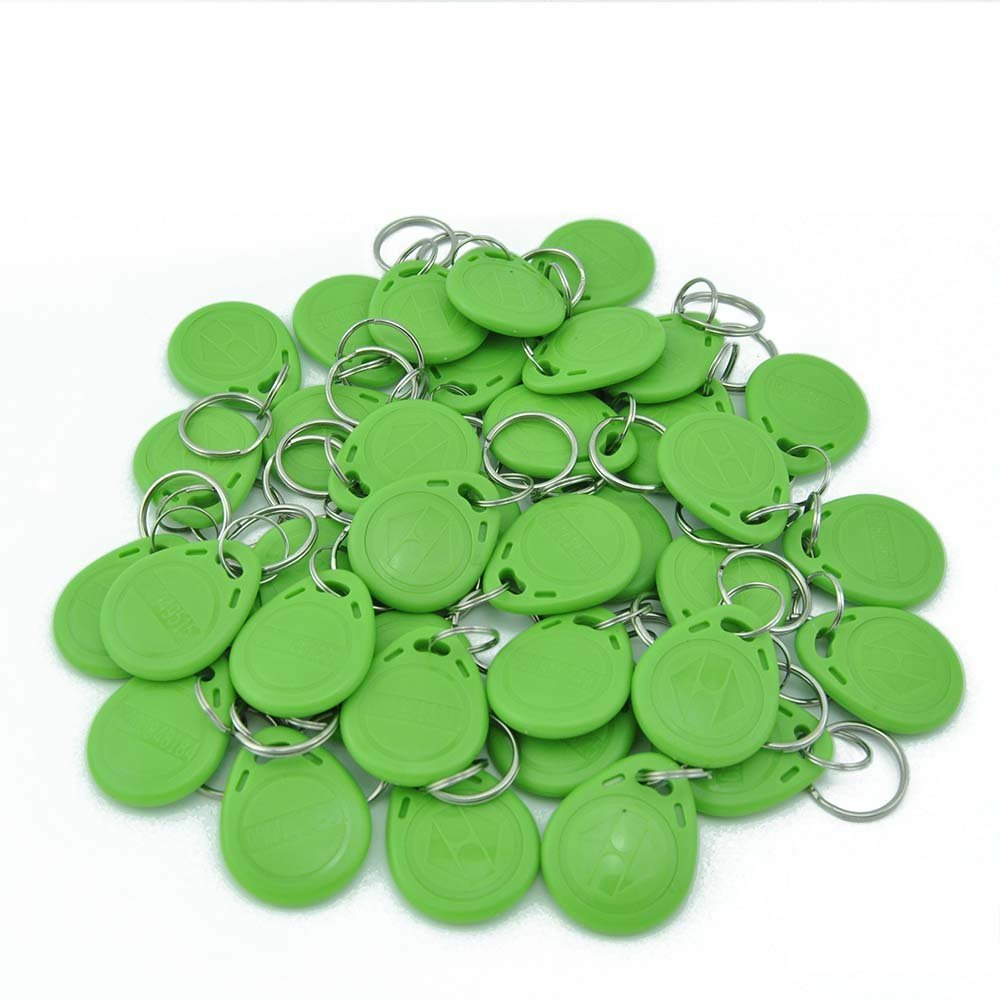 Green 100 Pcs 125Khz RFID Proximity ID Card Token Tags Key Keyfobs For Door Access Control System 10pcs access control rfid keyfobs 125khz proximity id token tag key keyfobs blue color for door access control system f1661a
