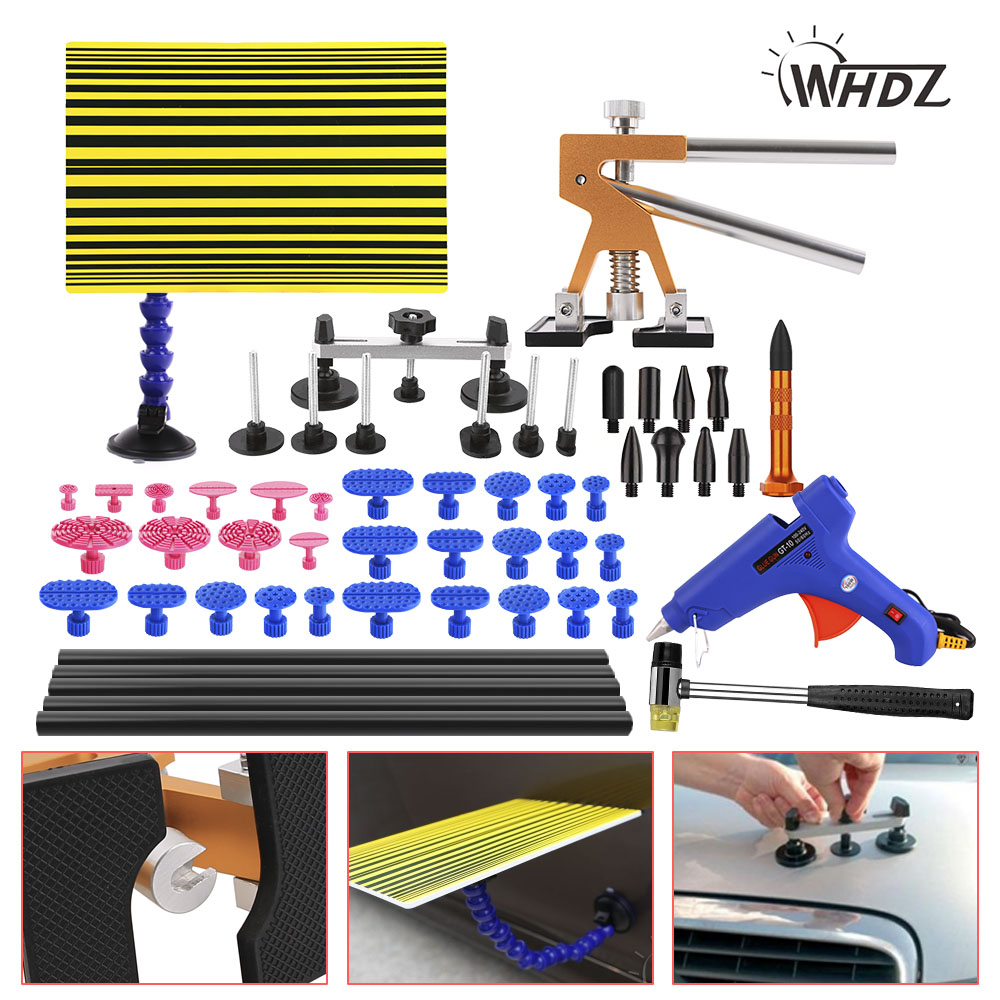 WHDZ Paintless Dent Repair Tool PDR Kit Dent lifter Glue gun Line Board Slide hammer Dent Puller Glue Tabs Suction Cup PDR Tool pdr rods kit with slider hammer dent lifter bridge puller set led line board glue stricks pro pulling tabs kit for pop a dent