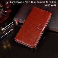 Para Letv LeEco Le Pro 3 AI Edition X650 funda cubierta de cuero con tapa para LeEco Le Pro 3 Dual cámara edición X651 cubierta Capa