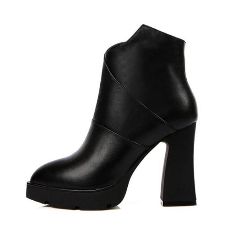 Cuir D'hiver Mode 40 Noir Kemekiss Talons Pour Taille 33 Fourrure Chaud Bottines Femmes Véritable Hauts Chaussures Bureau De Bottes Épais En BoedxCr