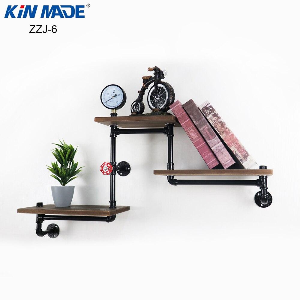 KINMADE D25 Industrial Pipe Floating Shelf Rustic Vintage Display Rack Grab Bar Floating Cloth Rack Towel