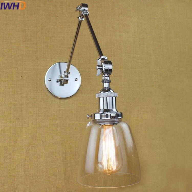 IWHD Angle Réglable arandela Creative Verre Applique Murale Led Loft