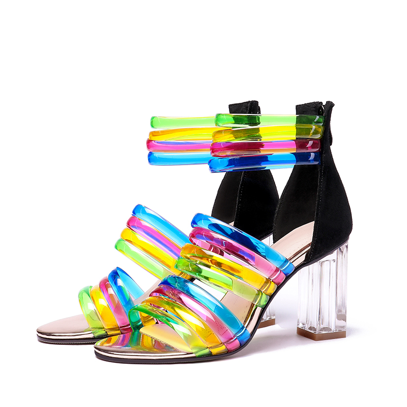 ISNOM przezroczyste wysokie obcasy sandały kobiet Open Toe obuwie Mix kolor sandały pasek stawu skokowego buty letnie buty kobieta w Wysokie obcasy od Buty na  Grupa 3