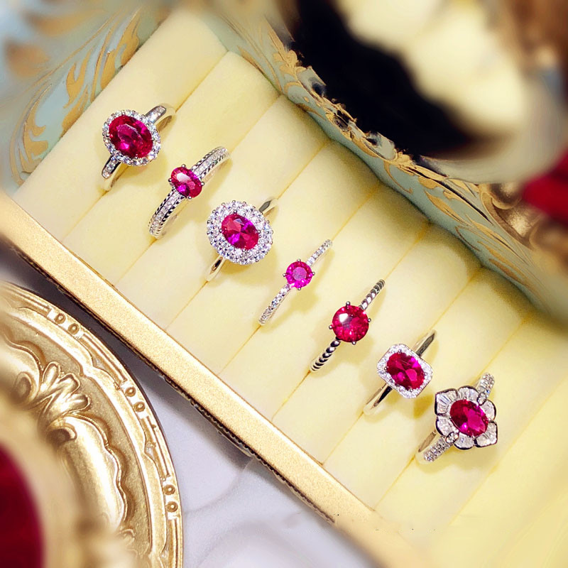 Palace Vintage S925 Sterling Silver Ruby Open Rings For Women Red Corundum Pigeon Egg Anel Finger Ring