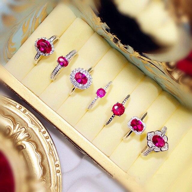 Palace bague Vintage en argent Sterling S925 en rubis pour femmes, ouverte, bague ouverte, œuf Pigeon, corindon rouge