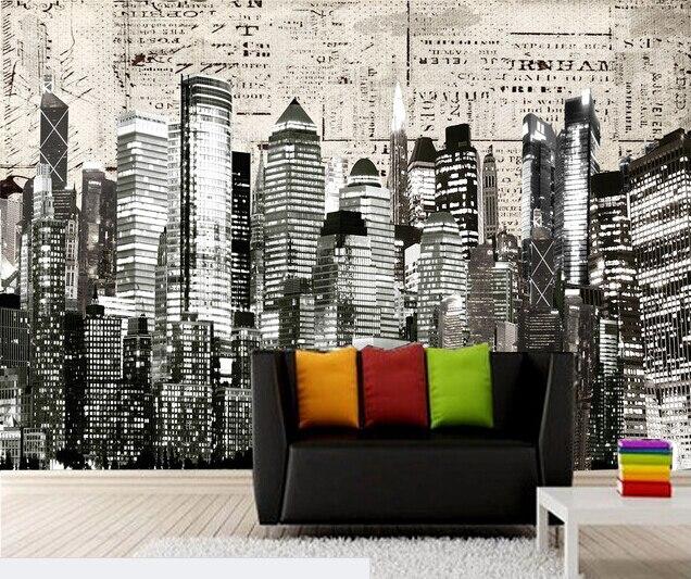 Benutzerdefinierte schwarz und Weiß Retro Tapete, New York City, 3D ...