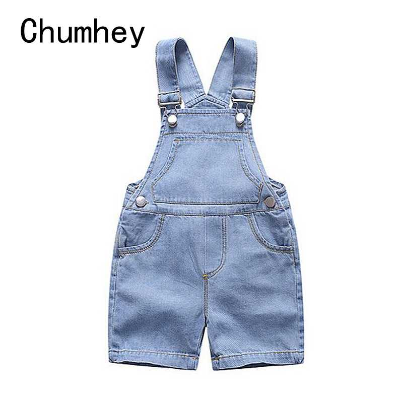 Chumhey 1-4T طفل قصيرة وزرة الصيف الفتيان الفتيات رقيقة الدنيم الجينز الاطفال بذلة الرضع ملابس بيبي الملابس بنطلونات قصيرة للأطفال