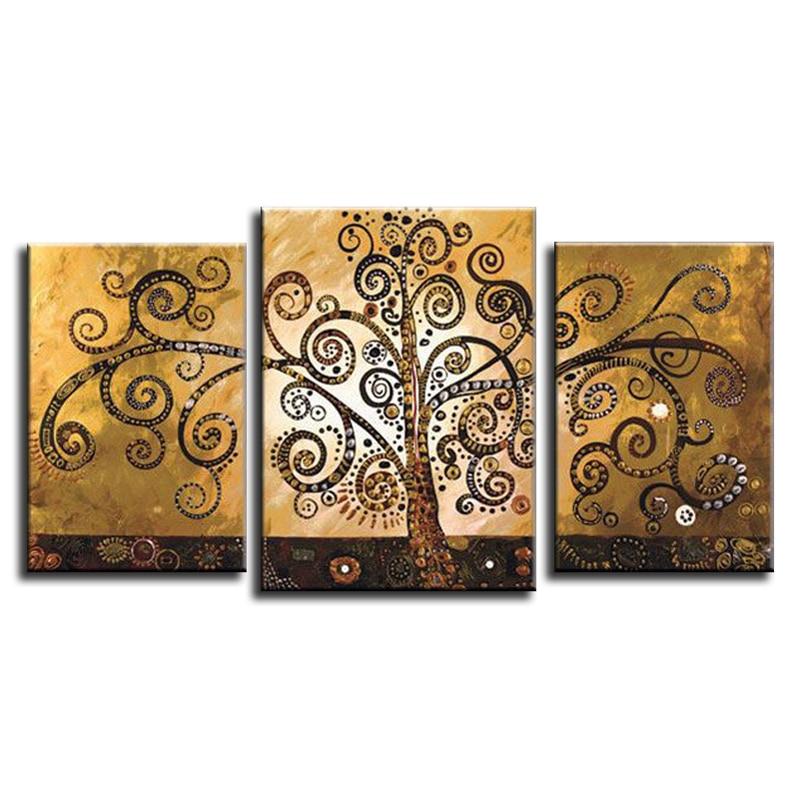 Ručně malované Abstraktní Domácí dekorace 3 Panel Peníze Život Strom Olejomalba Moderní Plátno Kuchyně Zeď Obrázek Pro Obývací Pokoj