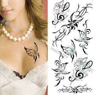 Waterproof sexy beautiful black butterfly temp tattoo for women