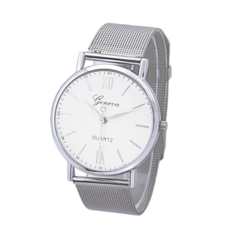 2018 new men's fashion simple watch quartz sports steel analog round watch perfect gift classic luxury glass Geneva watch #F