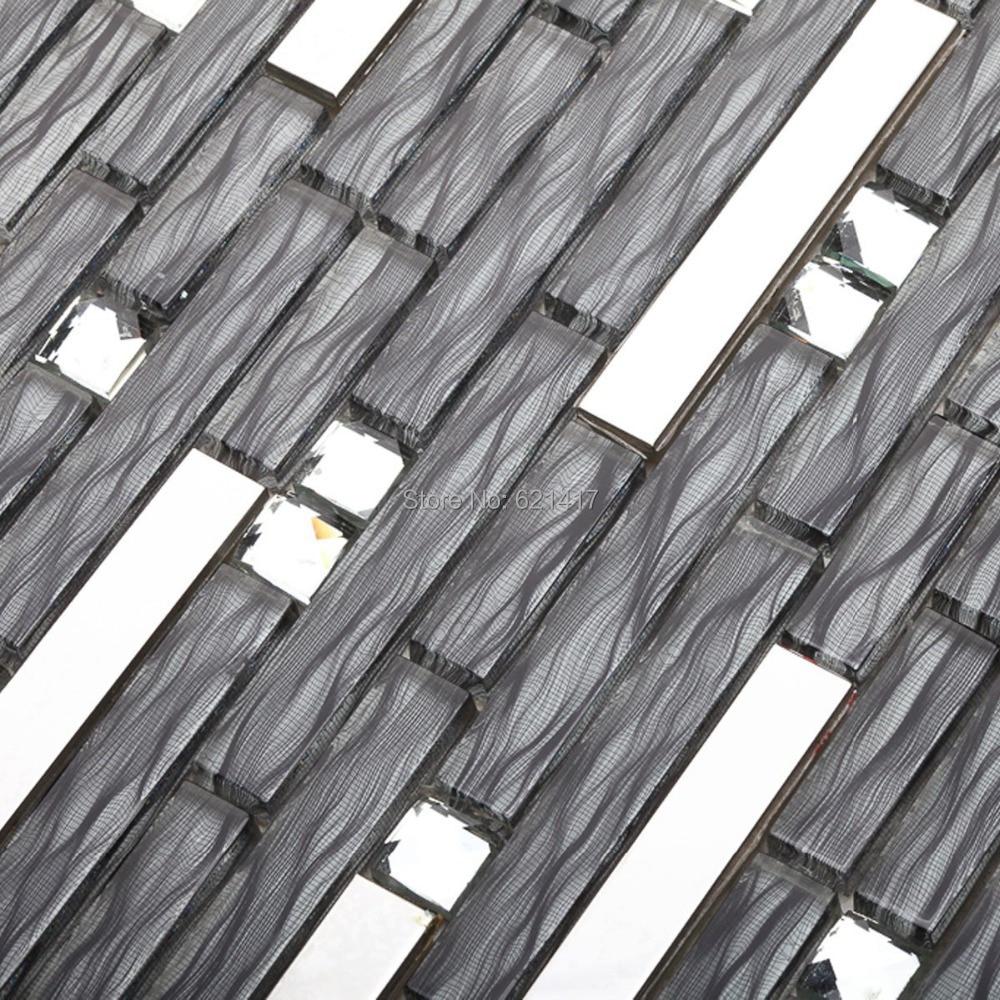Metal mosaic tile mirror kitchen backsplash metal crystal glass stone - Long Strip Glass Mixed Stainless Steel Metal Mosaic Tiles Kitchen Backsplash Mosaic Bathroom Shower Mosaic Hallway Border