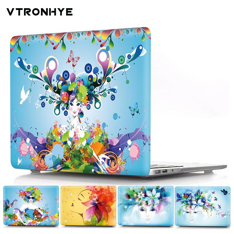 VTRONHYE Flower&Girl Print Hard Case Cover For New Macbook Pro 13 15 Touch bar A1706 A1707 Air Pro Retina 13 15