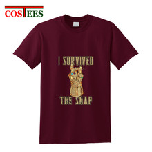 Vintage Avengers Infinity War Thanos T shirt men I survived the snap T-shirt Attack on Titan tshirt retro style hipster Tops Tee