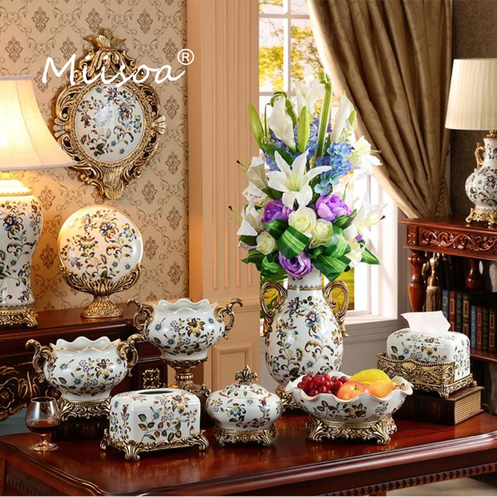 Miisoa European Vintage Royal Palace Style Ceramic Glazed Paint Porcelain Vase Luxury Flower Vase Home Living Room Decor Article