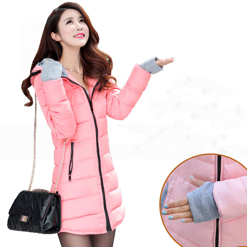 2019 winter women hooded warm coat plus size candy color cotton padded jacket female long parkas womens wadded abrigo mujer