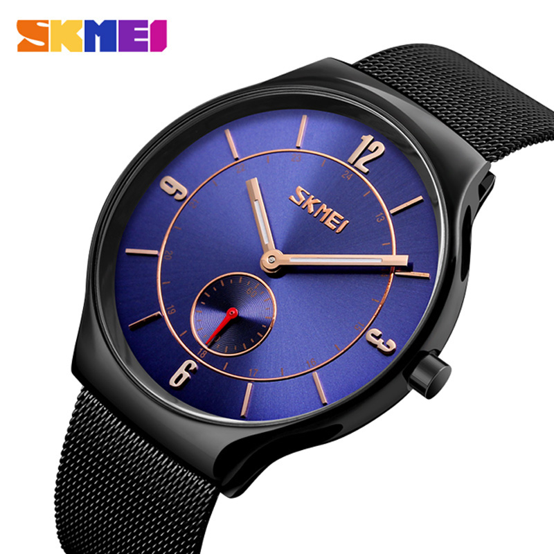 Fashion Top Luxury brand SKMEI Watches men Stainless Steel Mesh Band Quartz-watch Ultra Thin Dial Clock man relogio masculino fashion watch top brand oktime luxury watches men stainless steel strap quartz watch ultra thin dial clock man relogio masculino
