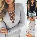 New Arrival Women's Autumn Lace Up V Neck Long Sleeve Solid Color Ribbed Basic Bodysuit Top