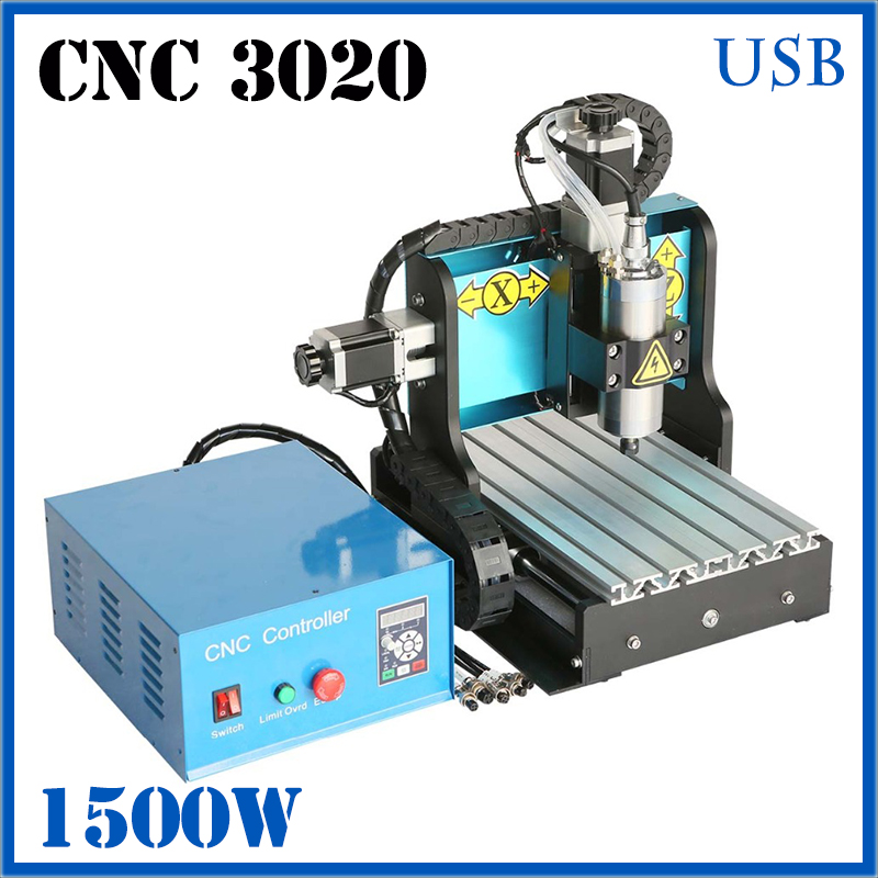 JFT CNC 3020 1500w 4 Axis USB Port 3D Wood Carving Machine Spindle Limit Swith Stainless Steel Etching Desktop Drilling Machine jft high precision cnc router cutting machine 300w spindle motor 4 axis cnc engraver with lpt port 3020