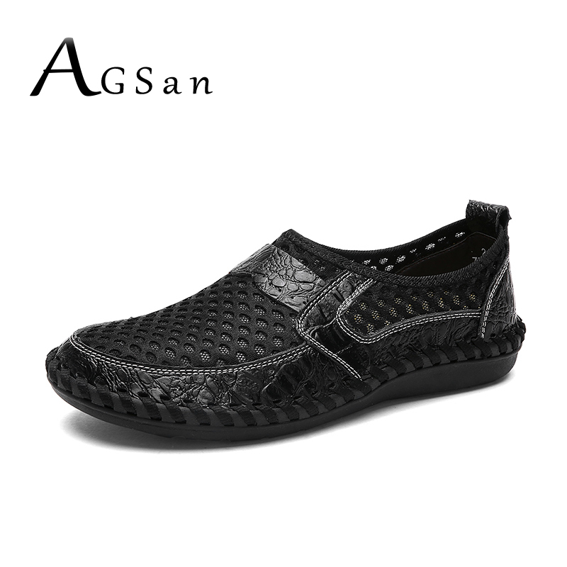 AGSan Summer Breathable Men Casual Shoes Slipon Zapatos Hombre Handmade Driving Shoes Mesh Men Loafers Moccains Big Size 38-48 цена