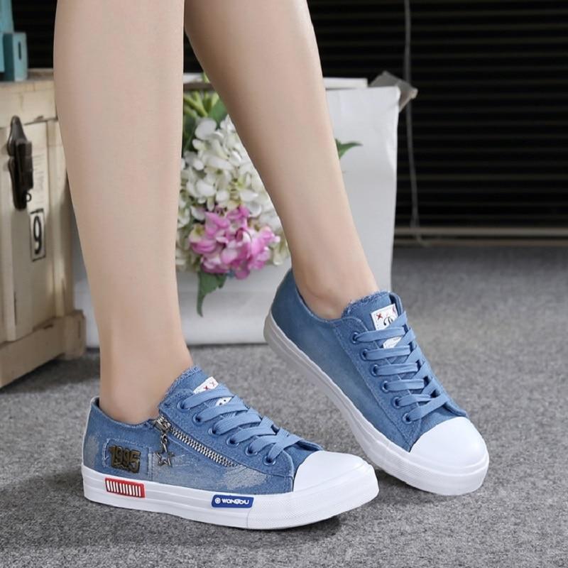 2018 Herbst Mode Denim Frauen Turnschuhe Leinwand Casual Schuhe Weiblichen Leinwand Schuhe Trainer Lace Up Damen Wohnungen Tenis Feminino Ausgereifte Technologien