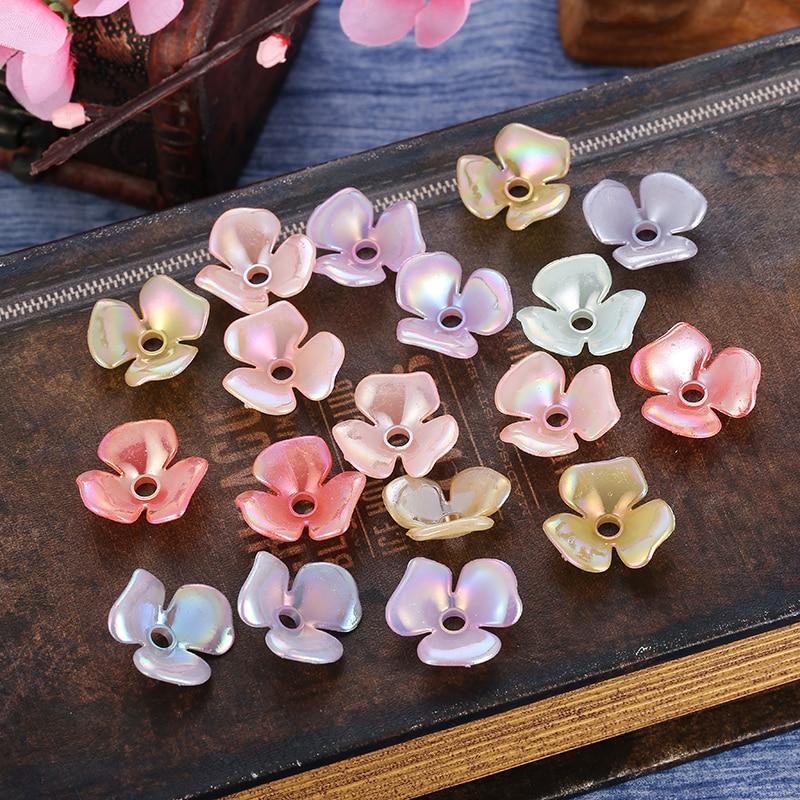 50pcs Acrylic Flower Beads Spacer Bead Caps Jewelry Headwear Making Decor DIY