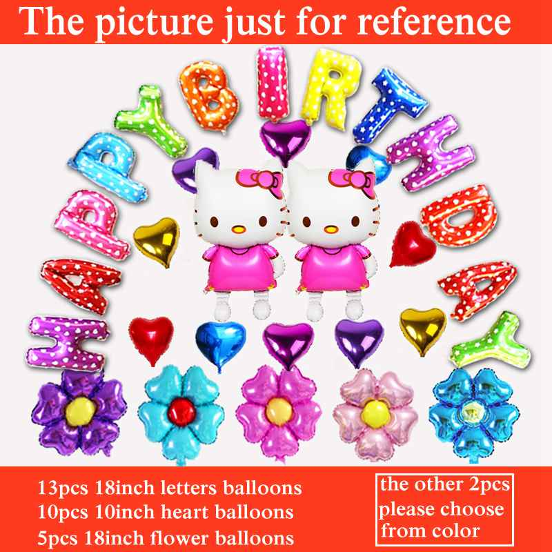 Event & Party Festive & Party Supplies Apprehensive 30pcs Hello Kitty Balloon For Girl Happy Birthday Party Balloons Include Flower&letters Balloon Children Toys Pure Whiteness