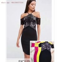Hot summer lace patchwork bandage dress women black yellow peach vetsido halter 2017 sexy backless cocktail gown party dresses