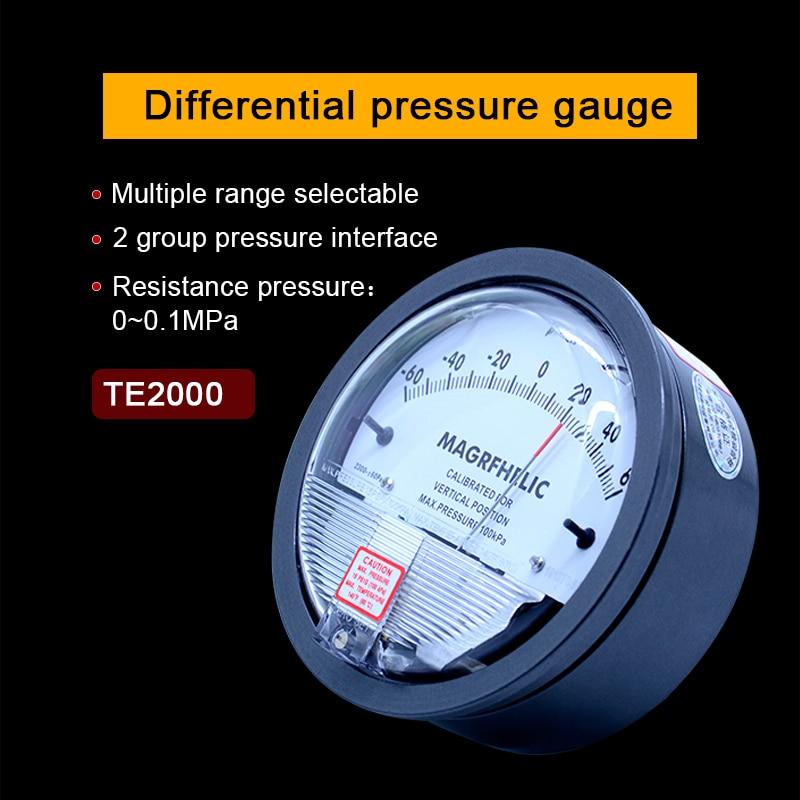 Differential pressure Gauge 1/8 NPT Air Pressure Meter Barometer positive pressure Negative pressure (vacuum) measuring range hot sale 0 1 6kpa ye 100 air diaphragm pressure gauge phosphor bronze film box pressure gauge positive pressure meter