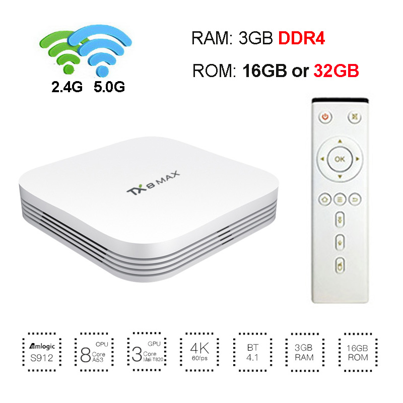 3GB DDR4 RAM 32GB ROM Android 6.0 TV Box Amlogic S912 Octa Core TX8 Max Smart 4K Media Player Dual Wifi 1000M LAN Bluetooth yokatv kb2 pro android 6 0 tv box 3gb ram 32gb rom amlogic s912 octa core android tv box dual wifi bt4 0 uhd 4k 2k media player