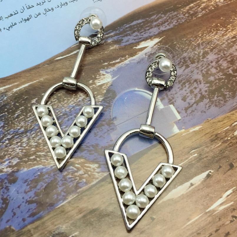 Danfosi New Fashion Geometric Imitation Pearl Gold Silver Colors Drop  Earring Statement V Shape Rhinestone Earrings Jewelry-in Drop Earrings from  Jewelry ... edc8506e3913