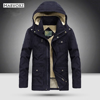 25 Degree Mens Jackets and Coats Winter Thick Men's Park Business Casual Brand Clothing Black Fur inside Denim 100% Cotton