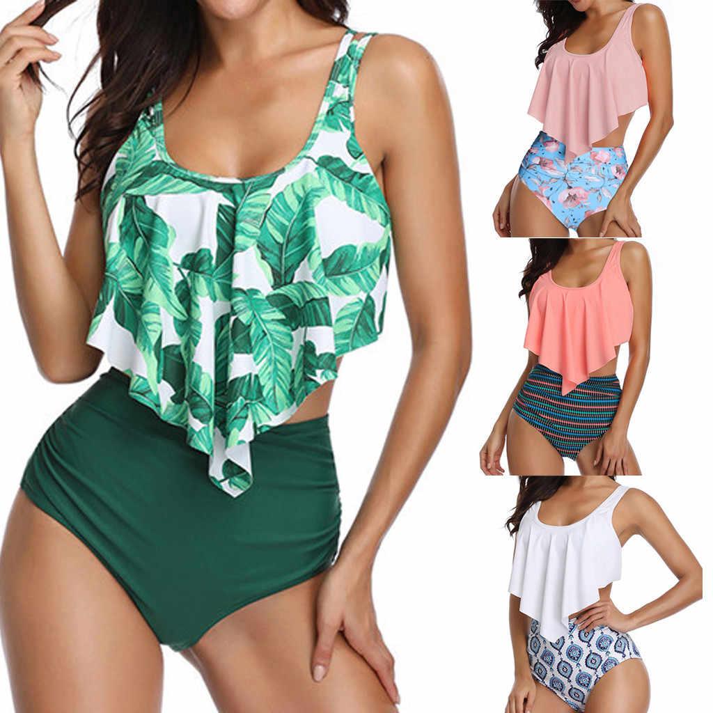بيكيني 2019 للنساء من قطعتين بمقاس كبير طقم بيكيني مثير مطبوع بظهر مكشوف للشاطئ ملابس سباحة للنساء