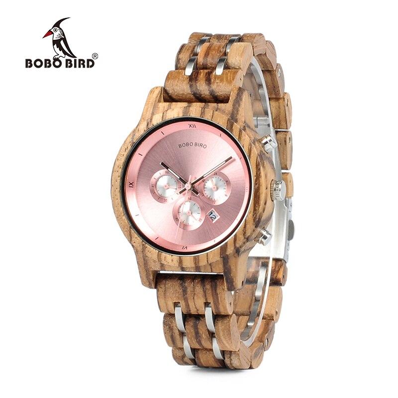 Бобо птица новый роскошный древесина Часы для Для мужчин Для женщин функциональные секундомер Saat с датой Дисплей Relogio feminino всего c-p18