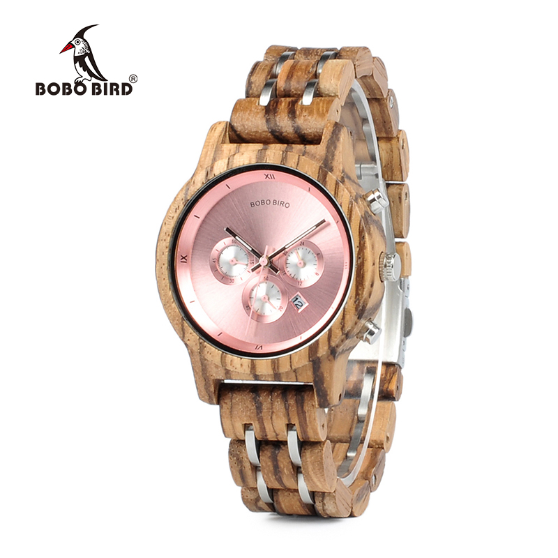 BOBO BIRD New Luxury Wood Watches for Men Women Functional Stop Watch saat with Date Display relogio feminino Timepieces C-P18 bobo bird brand new wood sunglasses with wood box polarized for men and women beech wooden sun glasses cool oculos 2017