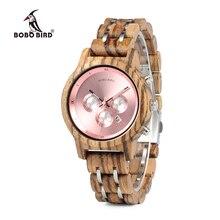 Бобо птица Для женщин роскошные деревянные часы функциональные секундомер saat с датой Дисплей Новый Дизайн relogio feminino всего C-P18