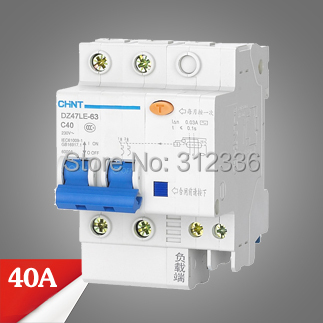 Free Shipping Two years Warranty  DZ47LE-63 C40 2P 40A 2 pole ELCB RCD earth leakage circuit breaker  residual current