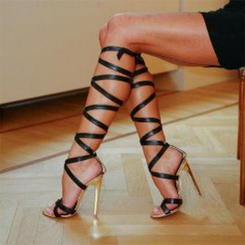Hot Sale Brand Roman Sandals High Heels Women Pumps Summer Classic Stilettos Slingback Strappy Gladiator Knee High Boots Shoes brand designer faux leather strappy roman goth gladiator thong lace up bandage sandals knee high boots flat shoes free shipping