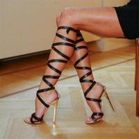 Hot Sale Brand Roman Sandals High Heels Women Pumps Summer Classic Stilettos Slingback Strappy Gladiator Knee