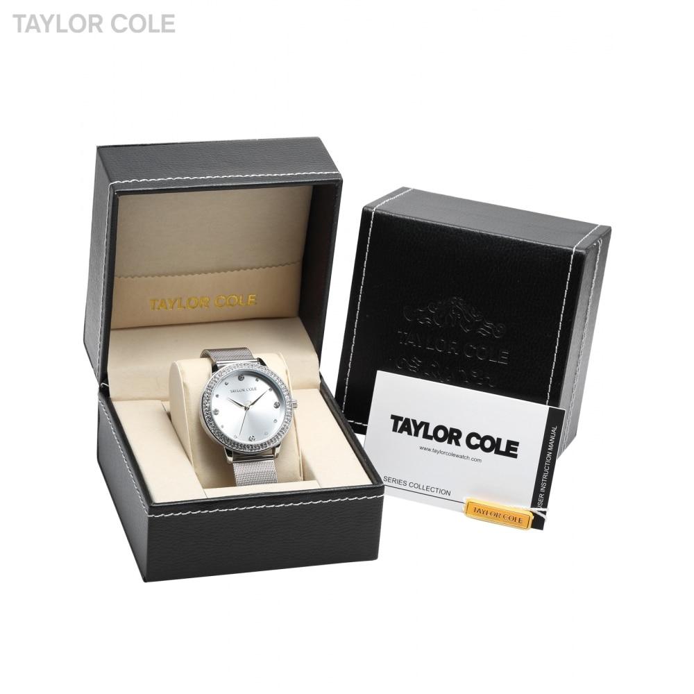 Taylor Cole Luxury Leather Box Round Slim Crystal Rhinestone Bezel Mesh Steel Bracelet Band Quartz Women