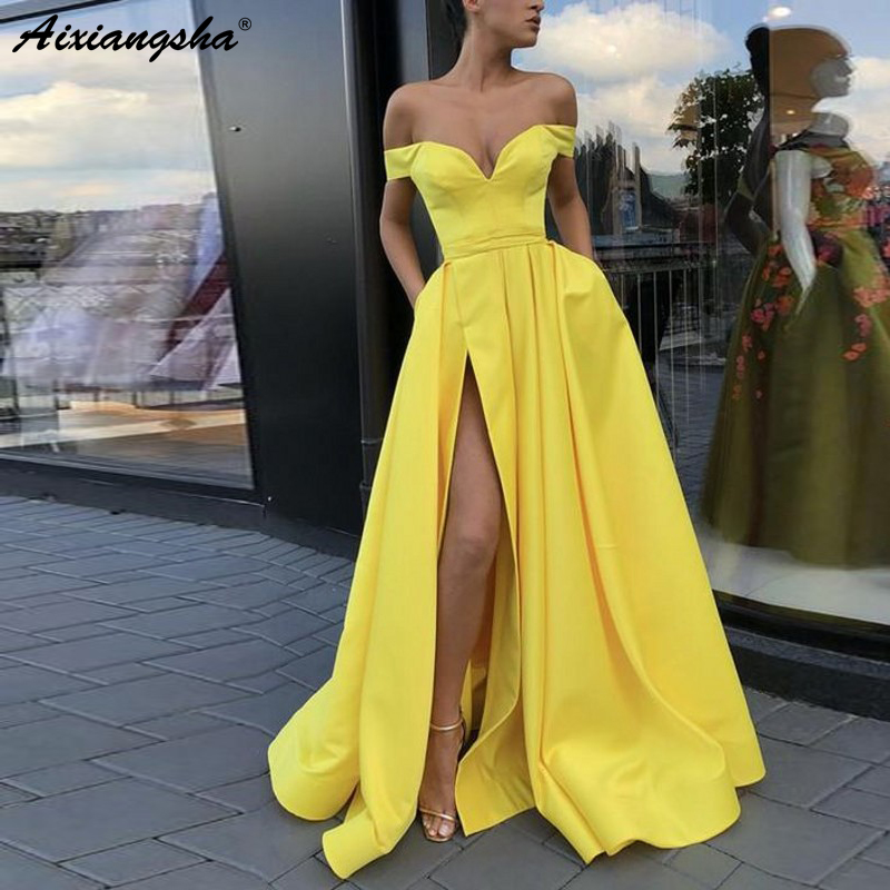 Yellow Evening Dresses 2018 with Pockets A-line V-neck Off Shoulder Slit Islamic Dubai Saudi Arabic Long Elegant Evening Gown